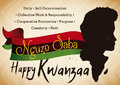 Man and Africa Silhouette Telling the Kwanzaa Celebration Principles, Vector Illustration