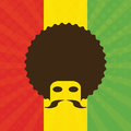 Man with afro and flag of ethiopia in background illustration Stock Photo