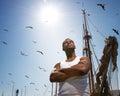 Man against boat's mast Royalty Free Stock Photo