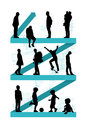 Man aging evolution men of different age from baby to senior adult standing on a blue zigzag line going up a symbol of a life Royalty Free Stock Image