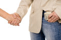 The man agreed about the bribe and puts it in his pocket isolated on white background Royalty Free Stock Images