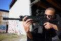 Man aiming rifle Stock Photos