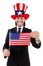 Man with american flag isolated on white Stock Photo