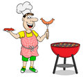 Man with apron grilling steak and sausages