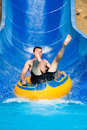 Man at aqua park Royalty Free Stock Photo