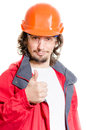Man architector or builder showing thumb up over white background in helmet studio Royalty Free Stock Photography