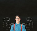 Man arm strong muscles with glasses Stock Image