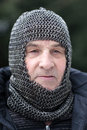 Man in armor portrait of outdoor winter Royalty Free Stock Images