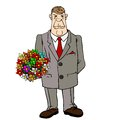 A man arrives with flowers for a date. Royalty Free Stock Photo