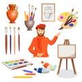 Man, artist palette, paint brushes, stand, vase. Set of paints