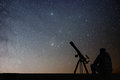 Man with astronomy telescope looking at the stars. Royalty Free Stock Photo