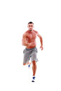 Man athlete doing running exercise full length portrait of young Royalty Free Stock Photos