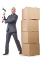Man with axe and boxes on white Royalty Free Stock Photography