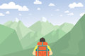 Man With Backpack Hiking. Mountain Landscape