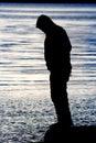 Man Balancing Water Silhouette Stock Image