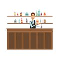 The man at the bar. Flat and cartoon style. Vector illustration on a white background.