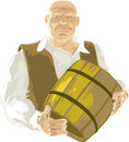 Man with barrel Royalty Free Stock Photography