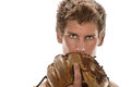 Man with baseball glove in front of face young holding isolated over white background Royalty Free Stock Image