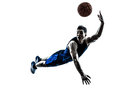 Man basketball player jumping throwing silhouette one caucasian in isolated white background Stock Photos