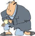 Man in bathrobe on one knee this illustration depicts a wearing pajamas and robe holding a cup of coffee while bending Stock Images