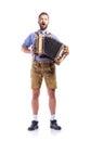 Man In Bavarian Clothes Playin...