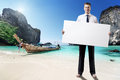 Man on the beach of thailand whith empty board in hand Stock Images