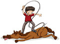 Man beating the horse with a rope on a white background Stock Photo