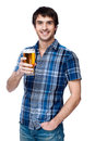 Man with beer glass isolated on white Royalty Free Stock Photo