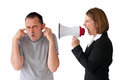 Man being yelled at by female manager male employee on white Stock Images
