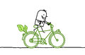 Man on bicycle hand drawn cartoon characters Stock Images