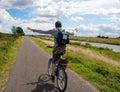 Man on bicycle having fun