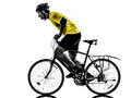 Man bicycling mountain bike silhouette one caucasian exercising bicycle on white background Royalty Free Stock Photography