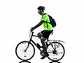 Man bicycling mountain bike silhouette one exercising bicycle on white background Royalty Free Stock Images