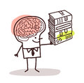 Man with big brain and books Royalty Free Stock Photo