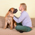 Man with big dog young at home playing a bullmastiff positively laugh Royalty Free Stock Image