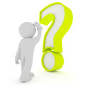 Man with big green question mark, 3d rendering Royalty Free Stock Photo