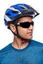 Man in Bike Helmet. Royalty Free Stock Photo