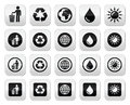 Man and bin recycling globe eco buttons set vector ecology concept isolated on white Royalty Free Stock Photography
