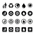 Man and bin recycling globe eco power icons set vector ecology concept on white Royalty Free Stock Images
