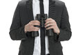 Man with binoculars closeup of a holding isolated on white Stock Images