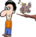 Man and bird cartoon illustration of happy character listening to singing Royalty Free Stock Images