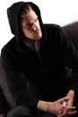 Man in a black hoodie Stock Image