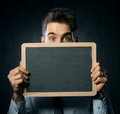 Man with blackboard Royalty Free Stock Image