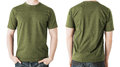 Man in blank khaki t shirt front and back view clothing design concept green Royalty Free Stock Image