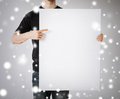 Man with blank white board Stock Photos