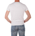 Man in blank white shirt a viewed from behind isolated on Royalty Free Stock Images
