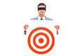 Man with blindfolded and a target Royalty Free Stock Photo