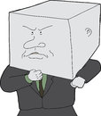 Man with block head stubborn business person cartoon Stock Photo