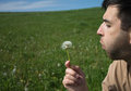 Man blowing flower outdoor on sunny day Royalty Free Stock Photography