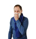 Man blowing his nose Stock Photography